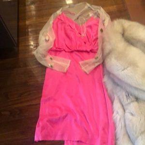 R Lauren B Label Silk Sexy Slip Dress POP